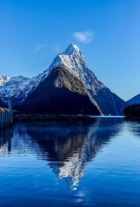 New Zealand, Mountain, Reflection, Landscape, Blue