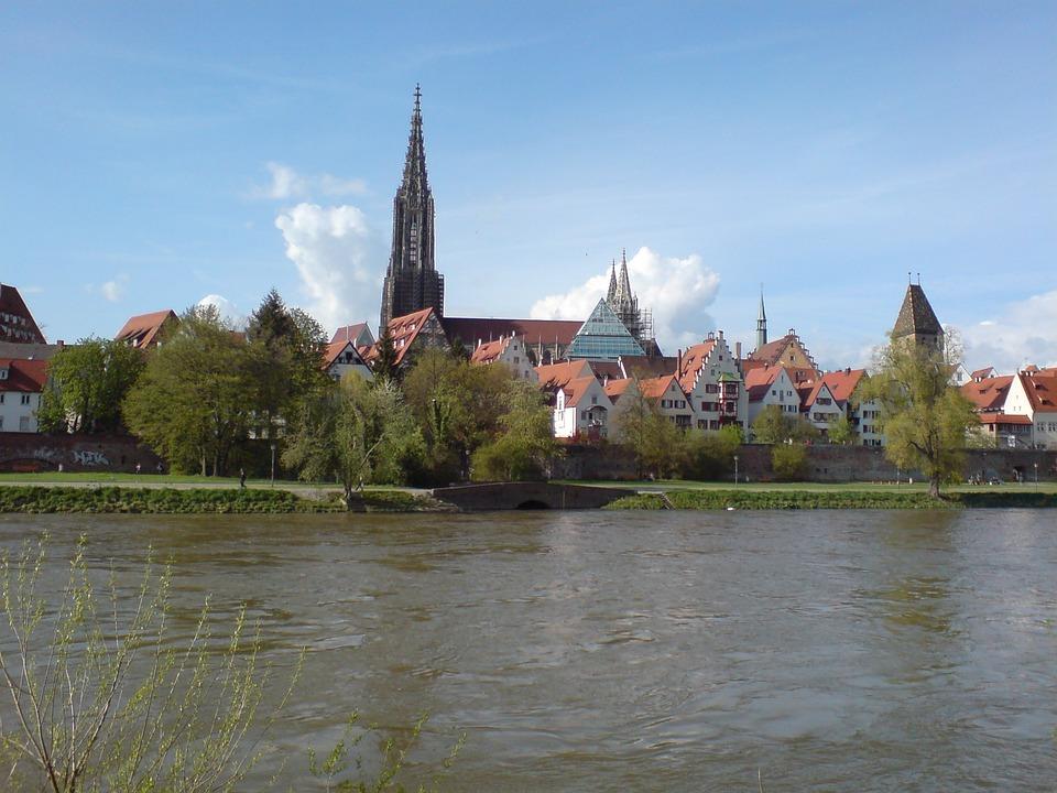 Ulm, Danube, River, Sky, Blue, Münster