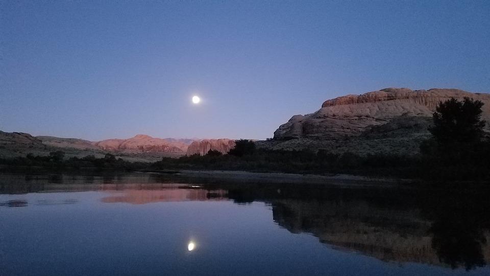 Dusk, Moon, Nature, Blue, Twilight, Landscape, Sky