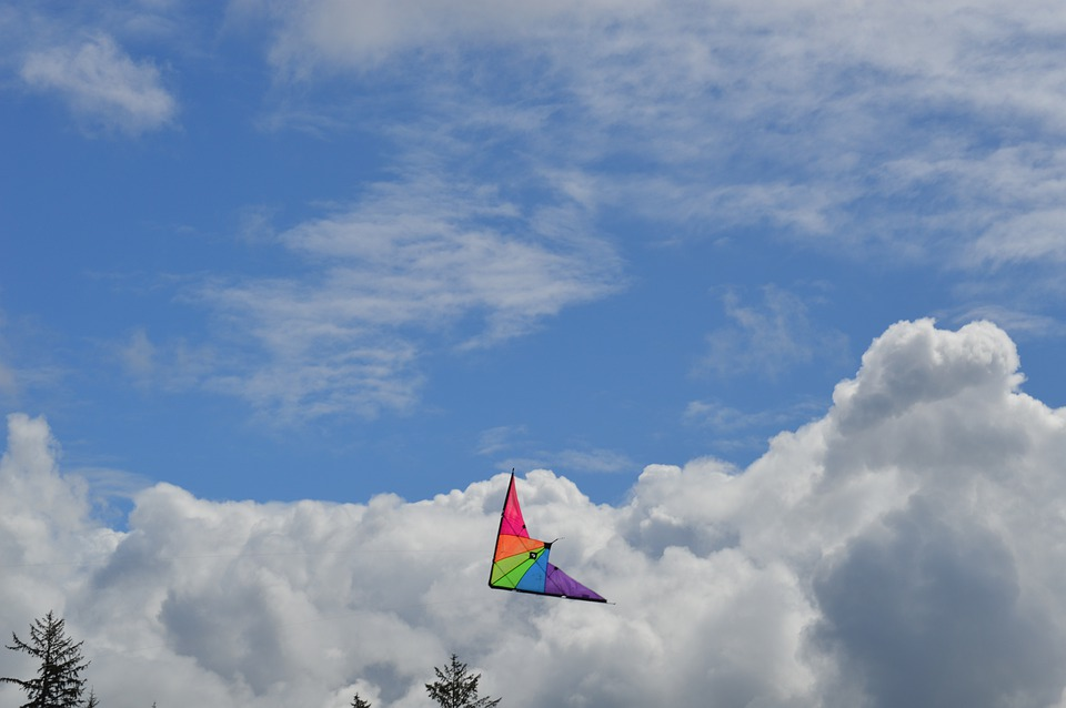 Kite, Clouds, Sky, Blue, Nature, Fly