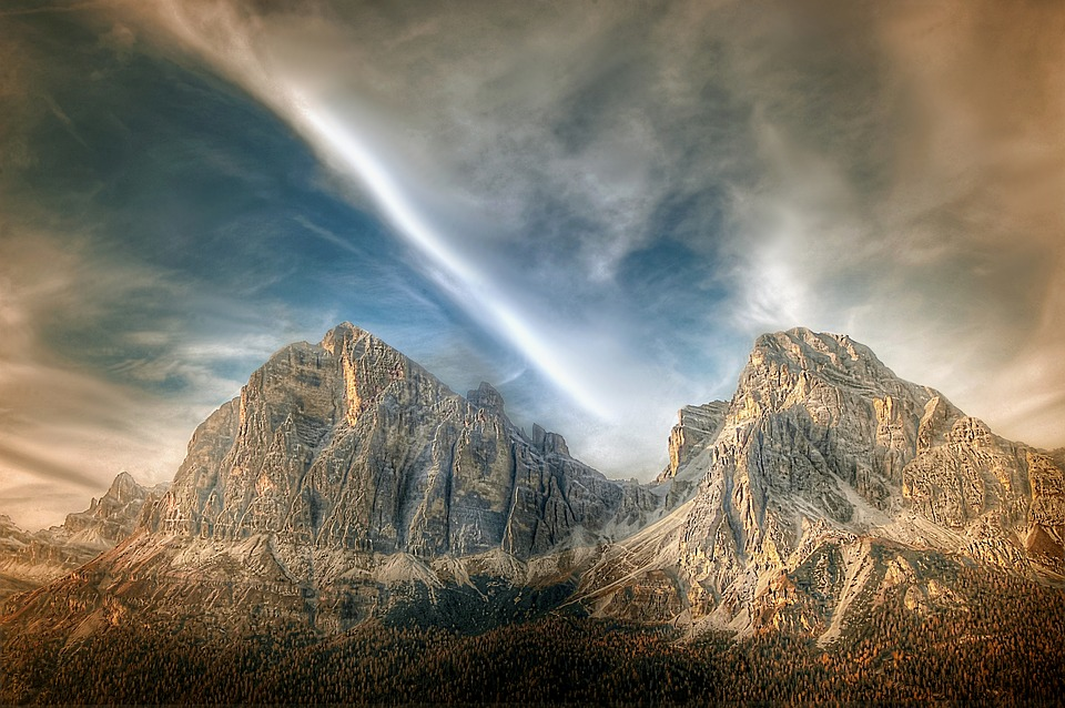 Tofane, Dolomites, Nature, Mountains, Blue, Clouds