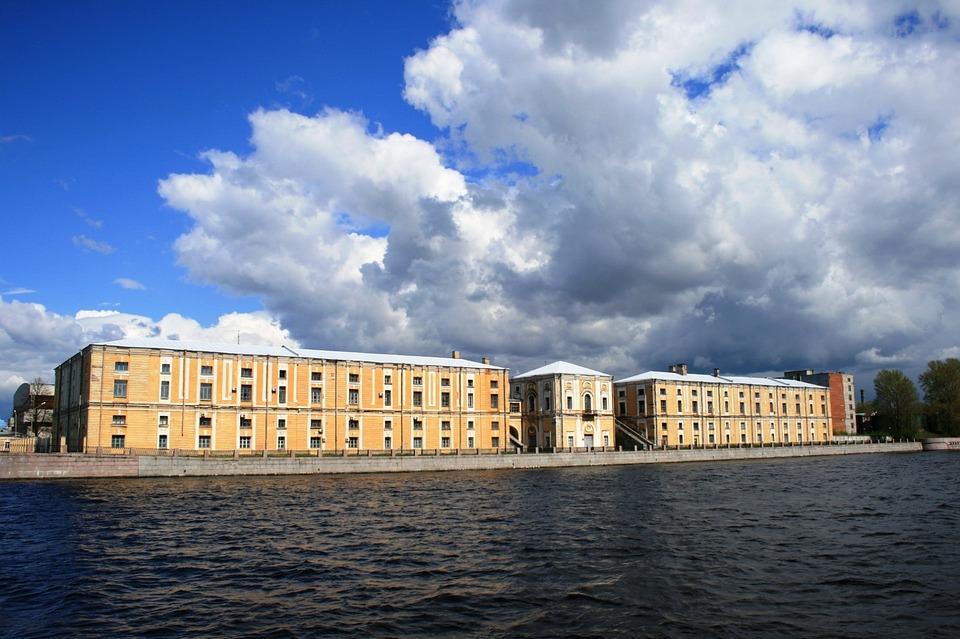 River, Water, Neva, Blue, Embankment, Buildings, Cream
