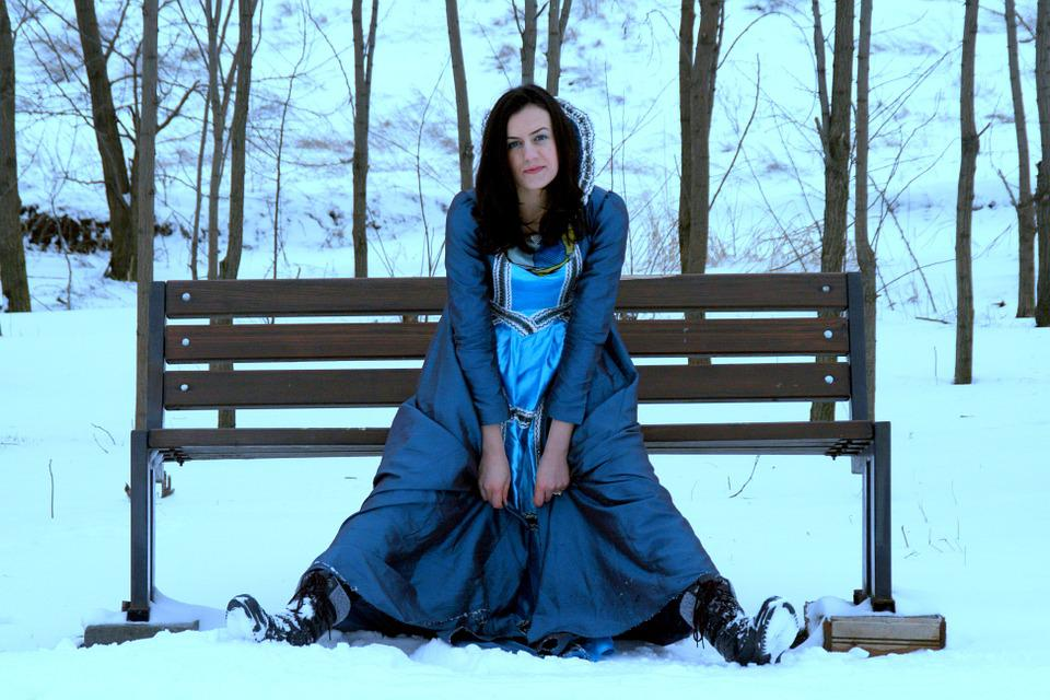 Girl, Princess, Snow, Blue, Dress, Nice