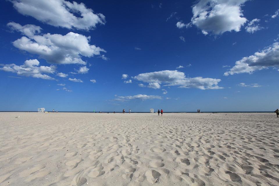Beach, Sky, Blue, Clouds, Empty, Vacation, Ocean