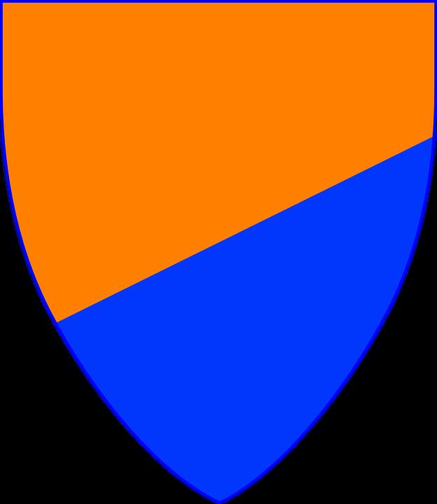 Shield, Coat Of Arms, Blue, Orange