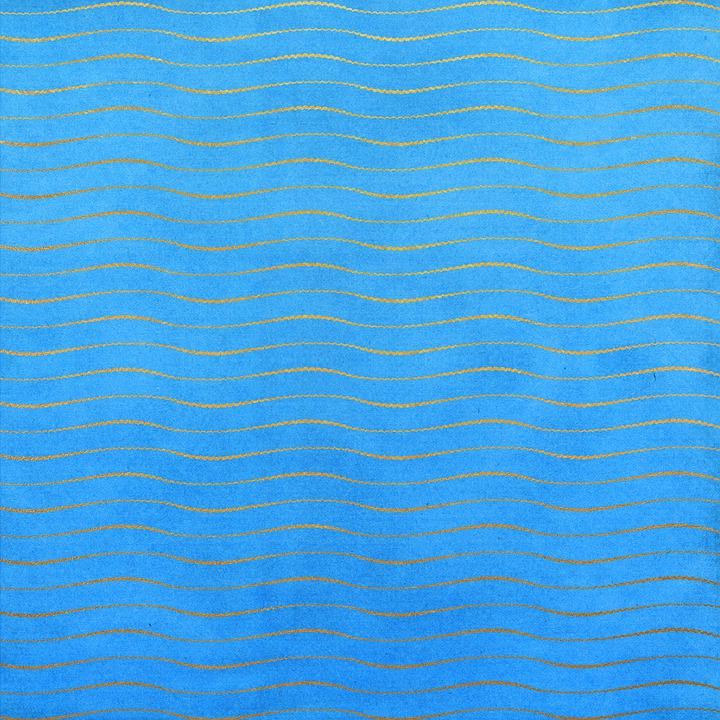 Scrapbooking, Pattern, Blue, Sea, Waves, Golden