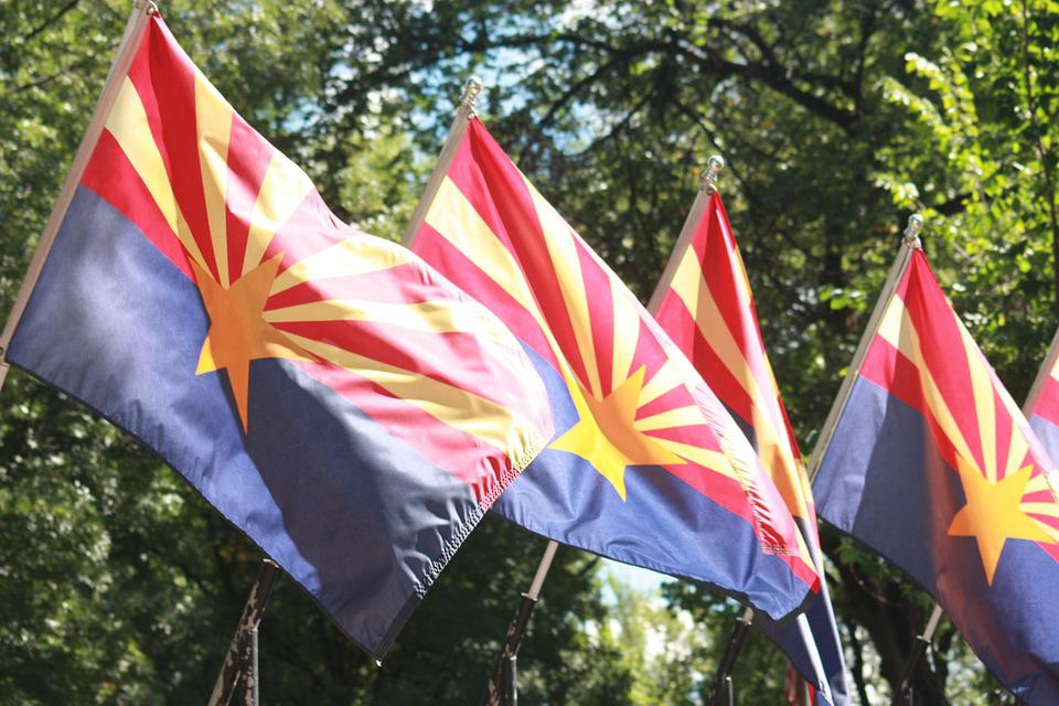 Flag, Arizona, State, Phoenix, Red, Blue, Gold