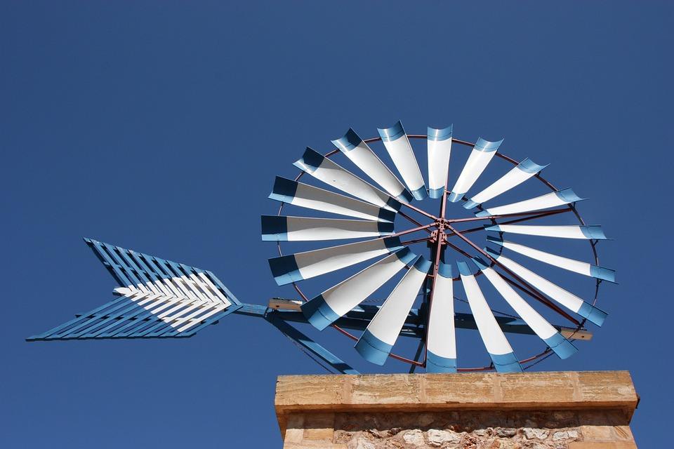 Mallorca, Pinwheel, Sky, Blue, Windräder