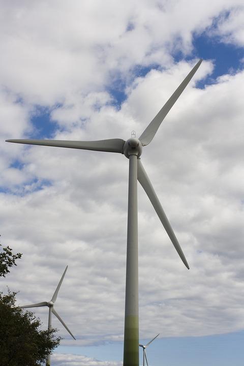 Wind Power, Pinwheel, Sky, Blue, Clouds