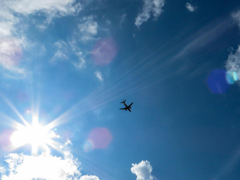 Sky, Sun, Blue, Clouds, Aircraft, Rays, Back Light