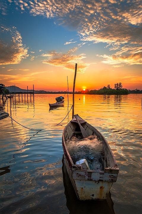 Boat, Cloud, Sunset, Water, Blue, Sun, Fishing, River