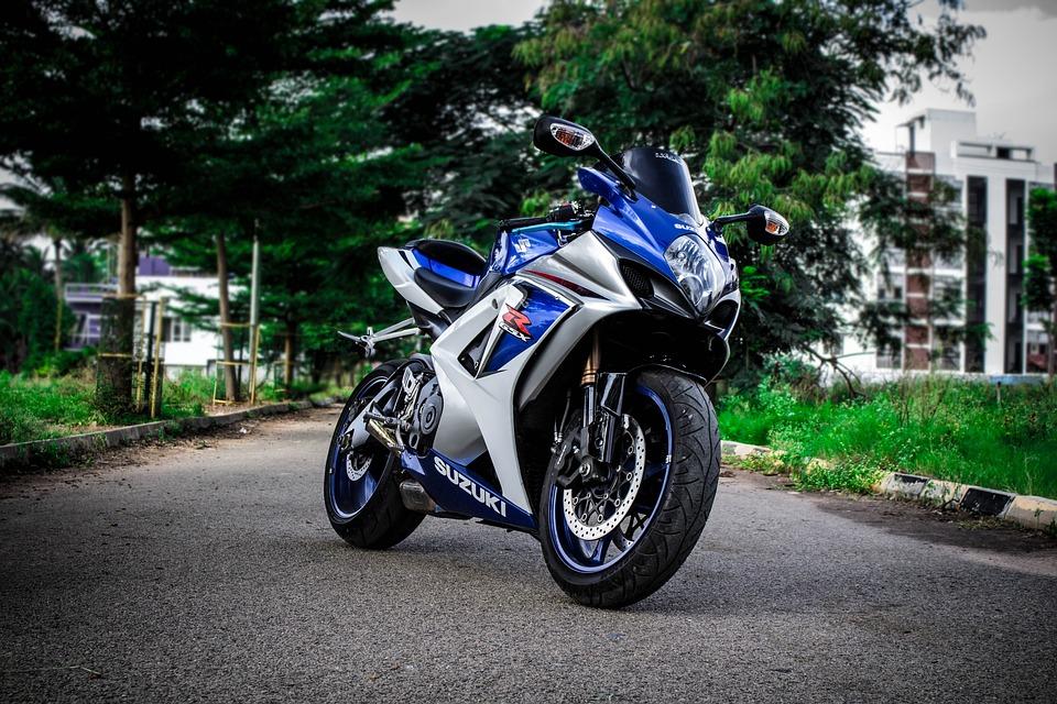 Bike, Superbike, Motorbike, Suzuki, Street, Road, Blue