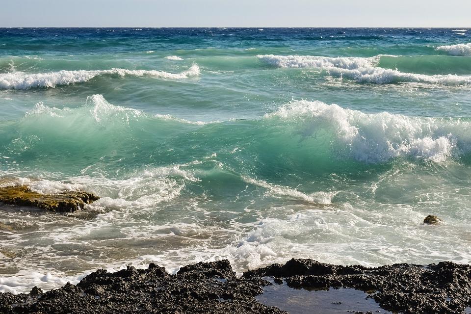 Rocky Coast, Wave, Sea, Blue, Nature, Landscape
