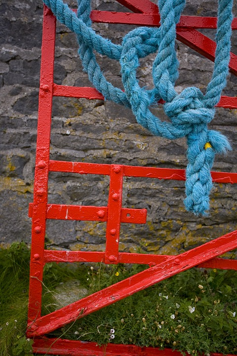 Gate, Rope, Red, Farm, Blue, Steel, Agriculture