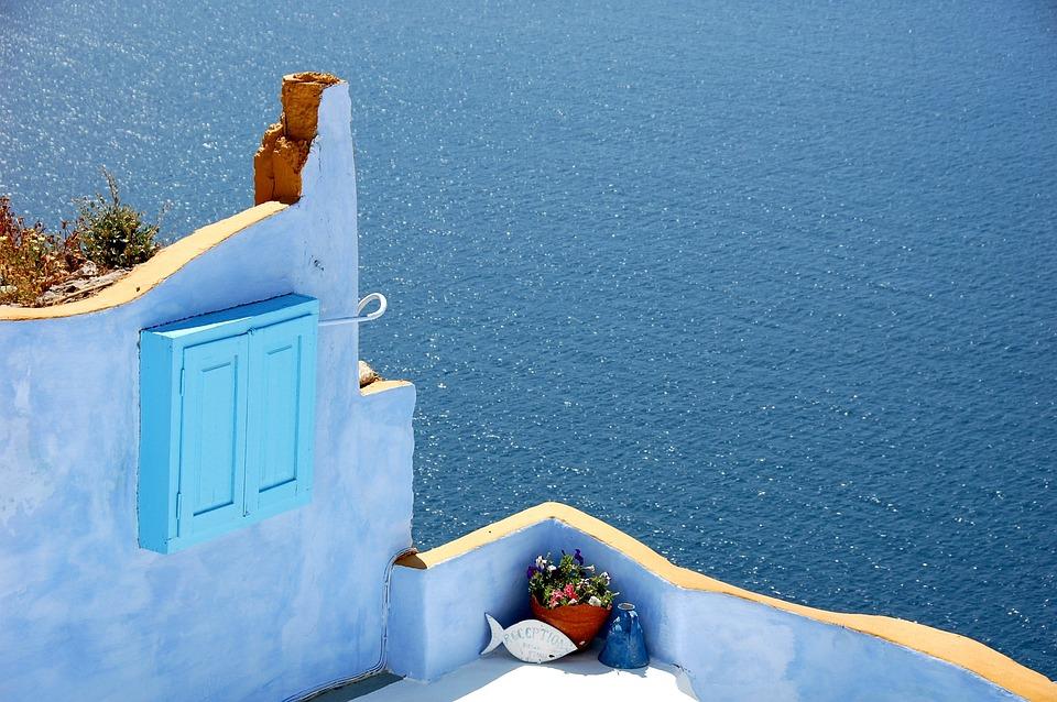 Santorini, Blue, Island, Color, Greece