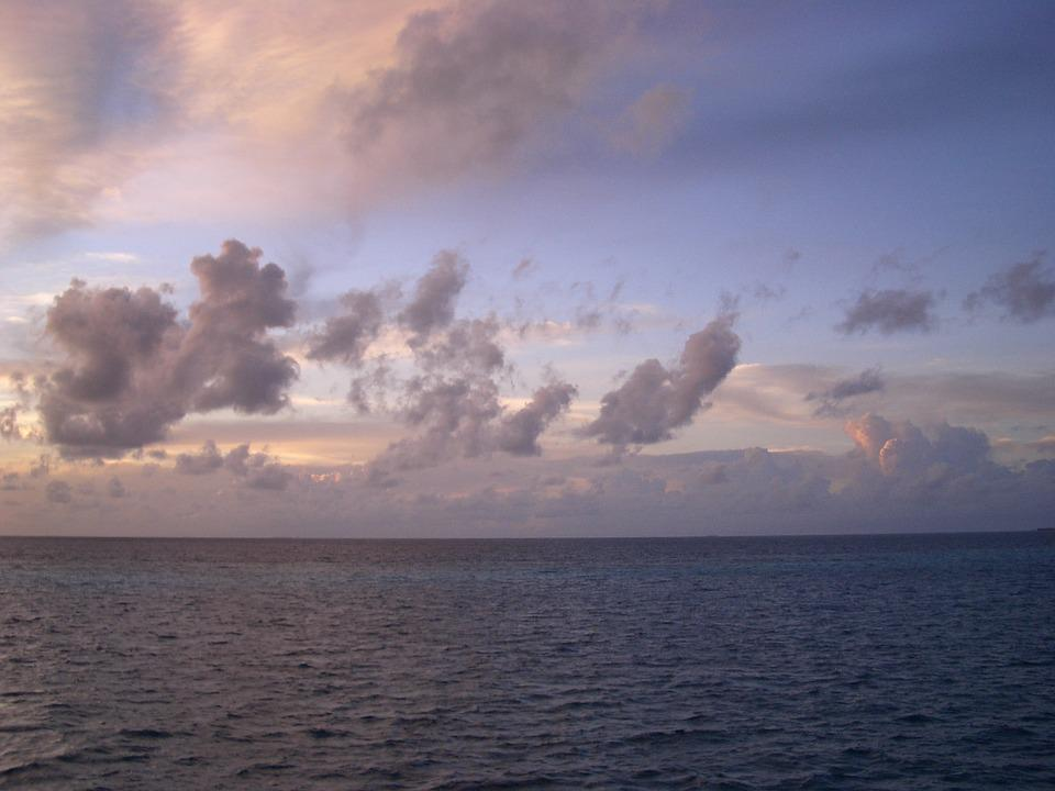 Morning Glow, Blue Sea, Clouds, Clear Skies