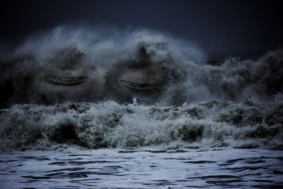 Waves, Sea, Face, Buddha, Water, Ocean, Nature, Blue