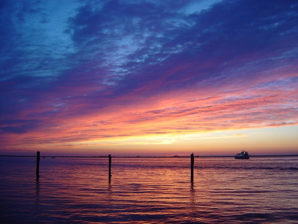 Sunset, Sky, Clouds, Colorful, Pink, Blue, Sea, Ocean