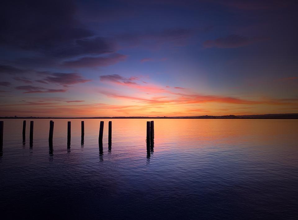 Sea, Sun, Sky, Dusk, Blue, Reflection