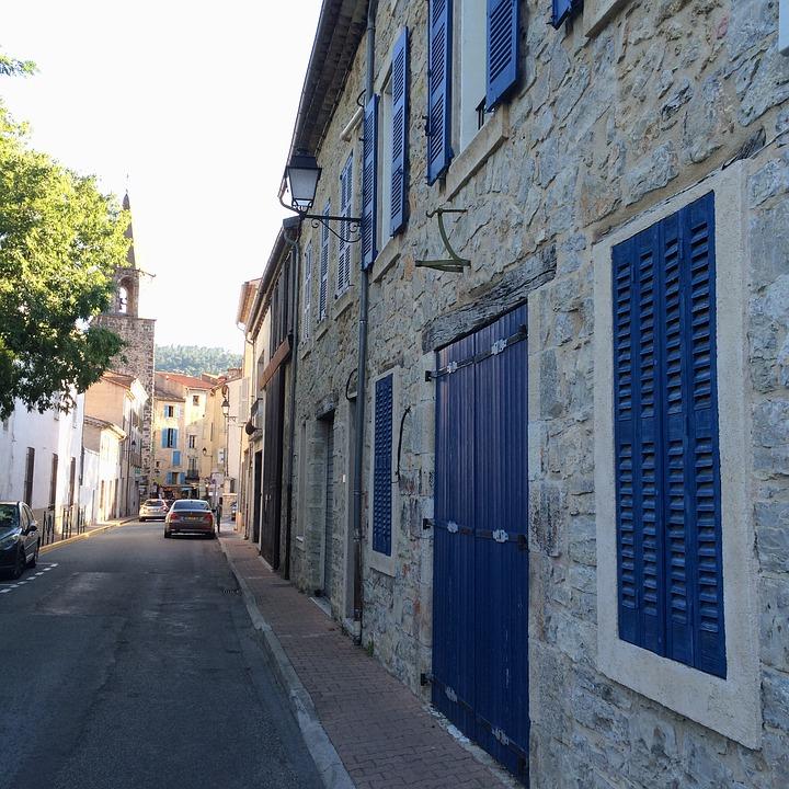 France, Street, Cars, Blue, Shutters, Door, Bargemon