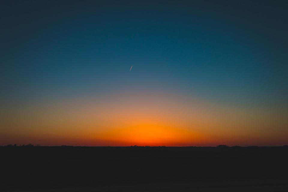 Sunset, Sky, Glow, Orange, Blue, Silhouette