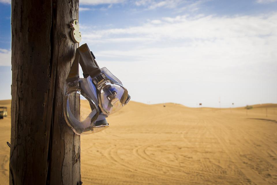 Shapotou, Desert, Goggles, Blue Sky And White Clouds