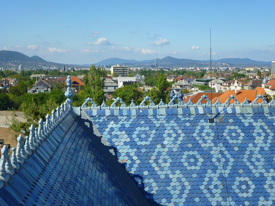 Blue Sky, Zsolnay Roof, Budapest, Scape