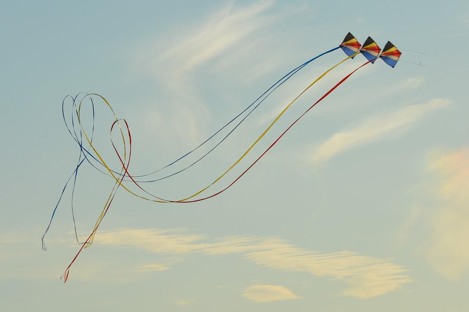 Wind Kite, Blue Sky, Air, Clouds