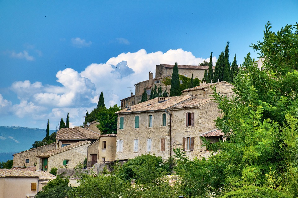 Lurs, Beautiful Landscape, French Village, Blue Sky