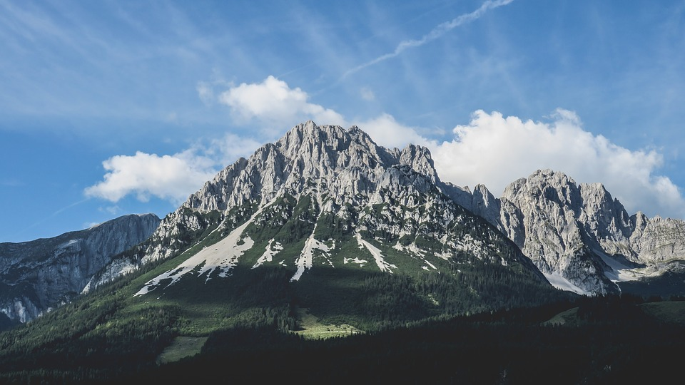 Blue Sky, Clouds, Landscape, Mountain Peak, Mountains