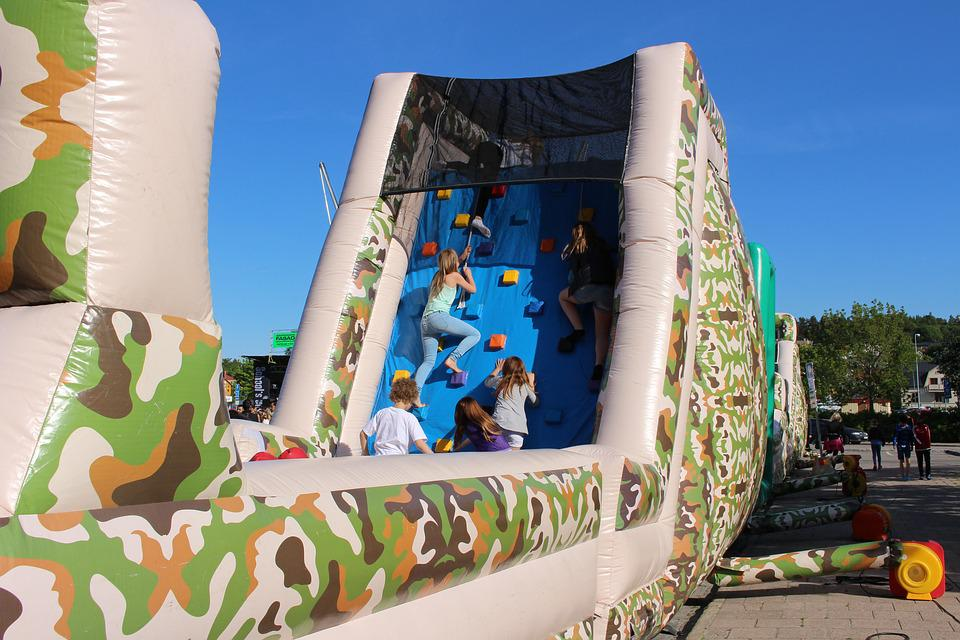 Obstacle Course, Blue Sky, Children
