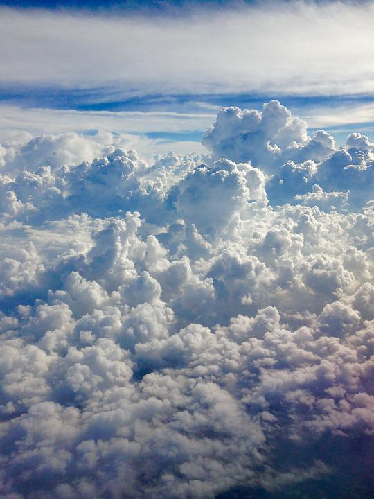 Above The Clouds, White Clouds, Blue Sky, Plane Flight