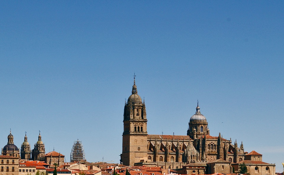 Salamanca, Spain, Roofs, Cathedral, Monuments, Blue Sky
