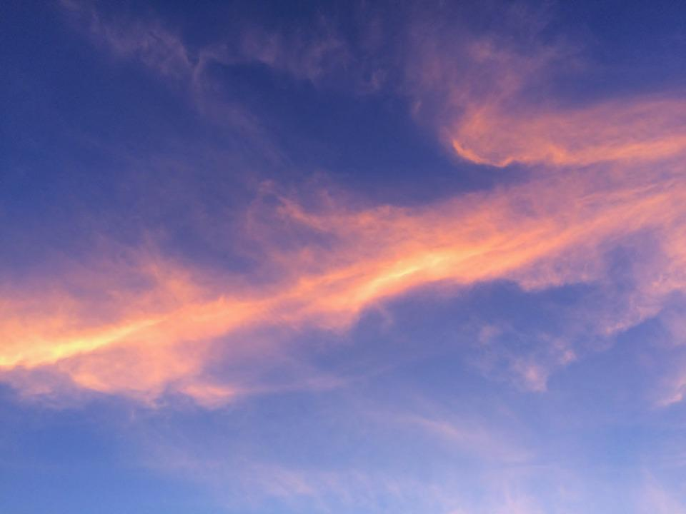 At Dusk, Evening, Blue Sky, Rosy Cloud, Cloud, Autumn
