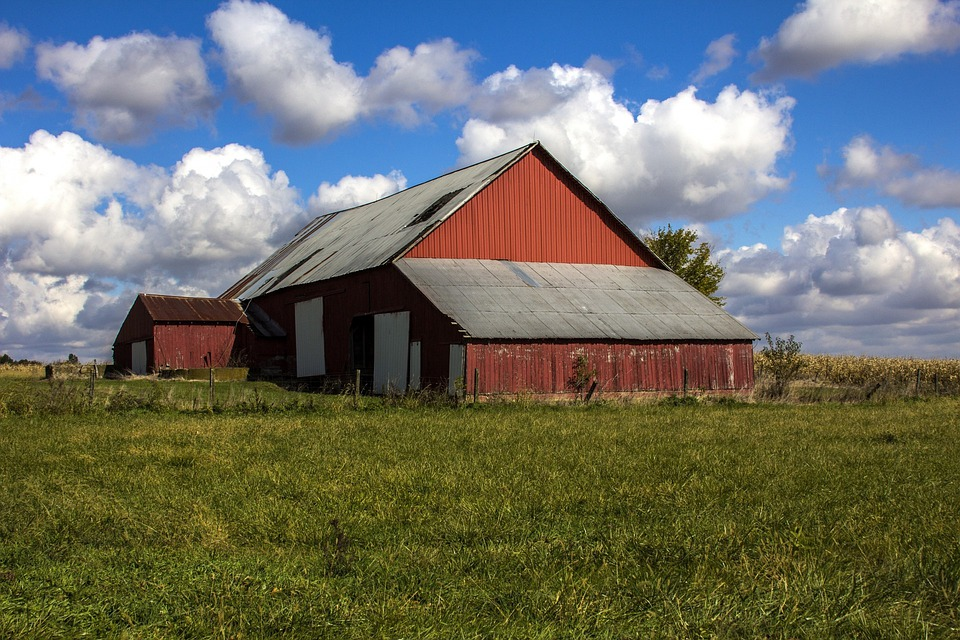 Clouds, Barn, Sky, Blue Sky, Rural, Farm, Scenic