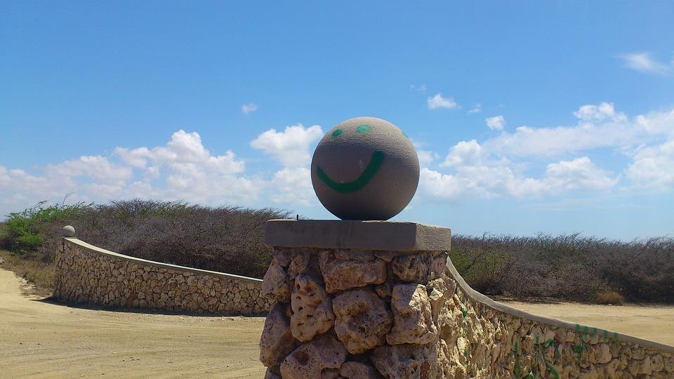 Smiley, Blue Sky, Wall, Aruba, Statue, Stonework, Stone