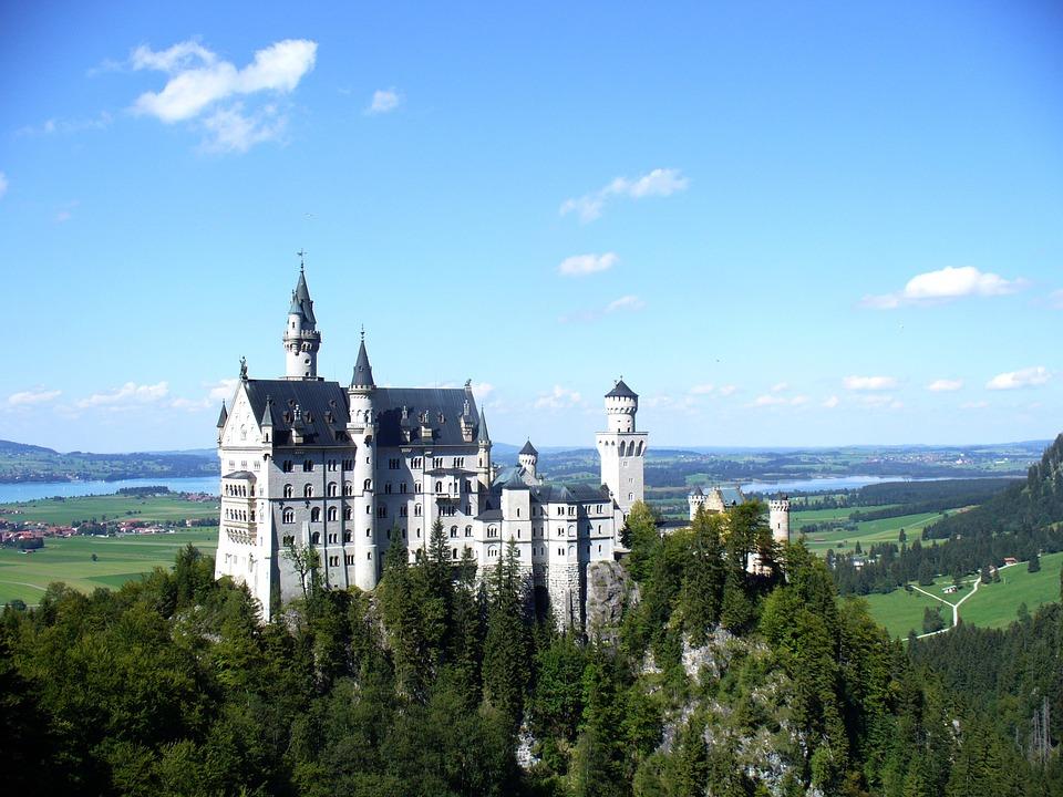 Kristin, Castle, Bavaria, Summer, Blue Sky