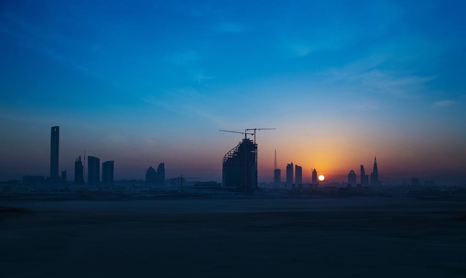 City, Sunrise, Blue Sky