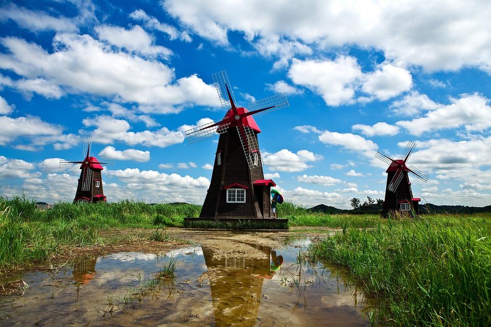 Windmill, Sky, Cloud, Blue Sky, Nature, Scenery, Swamp
