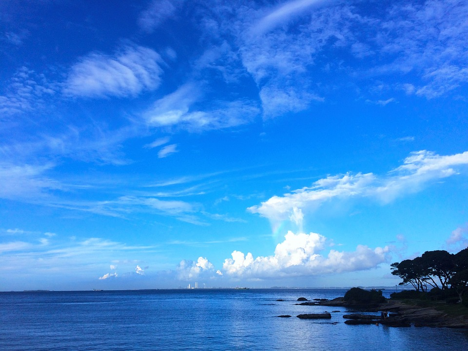 Typhoon, Towering Cumulus Clouds Observed, Blue Sky