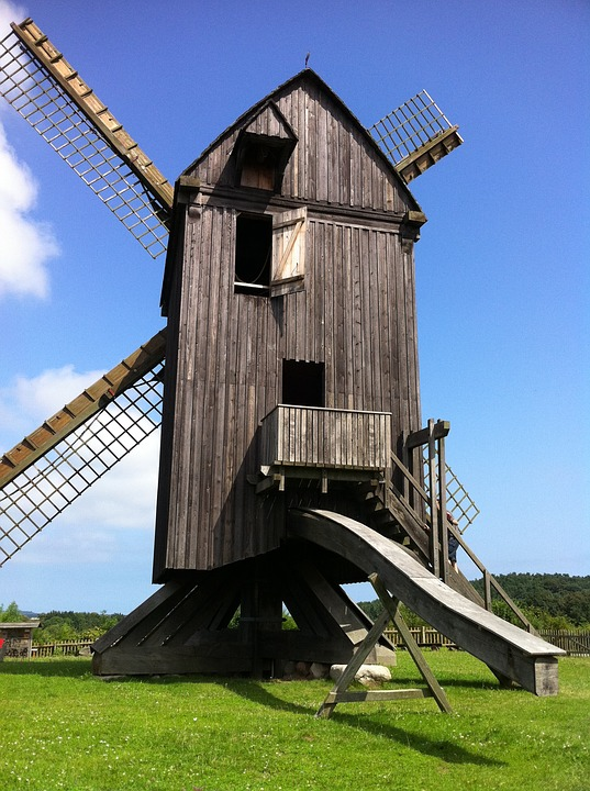 Windmill, Usedom, Nature, Benz, Summer, Blue Sky
