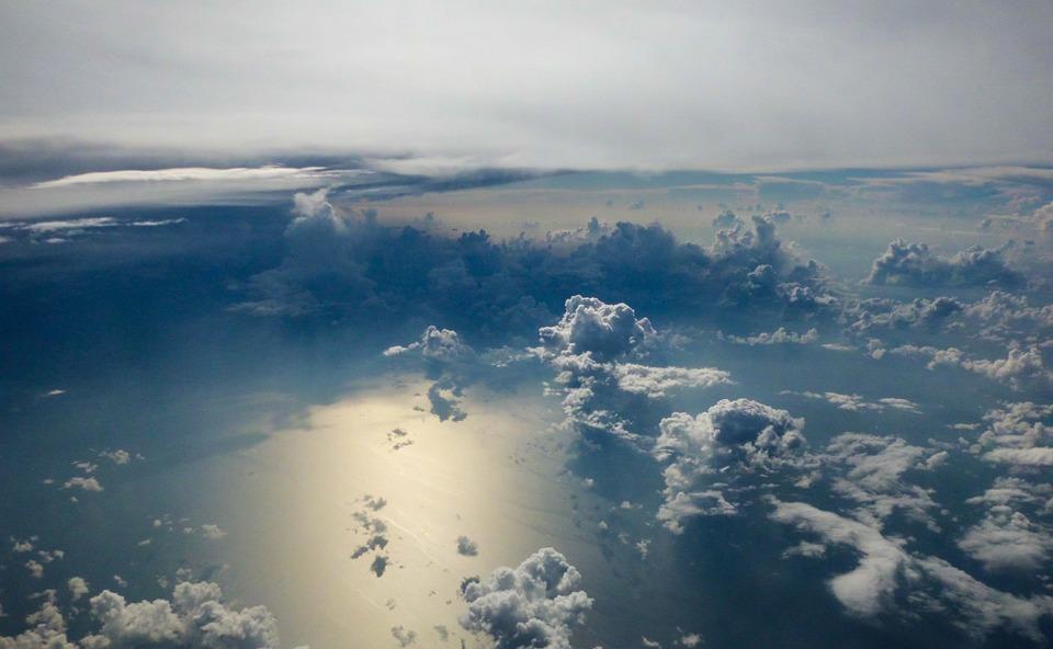 Clouds, Sky, Blue, Sea, Plane, Landscape, Space, Rays