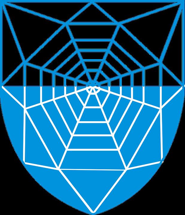 Spider, Web, Coat, Arms, Blue, Cobweb