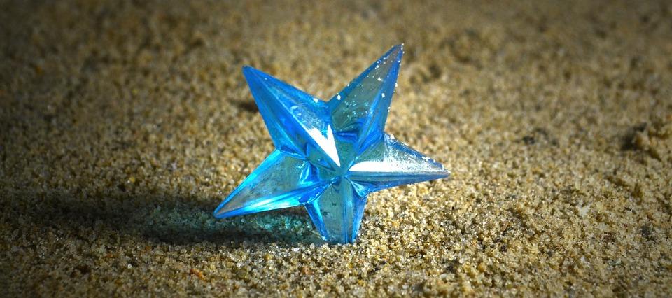 Star, Ground, Sand, Blue Star, Blue, Toy, Symbol