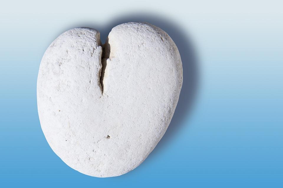 Heart, Love, Luck, Stone Heart, Marble, Romance, Blue