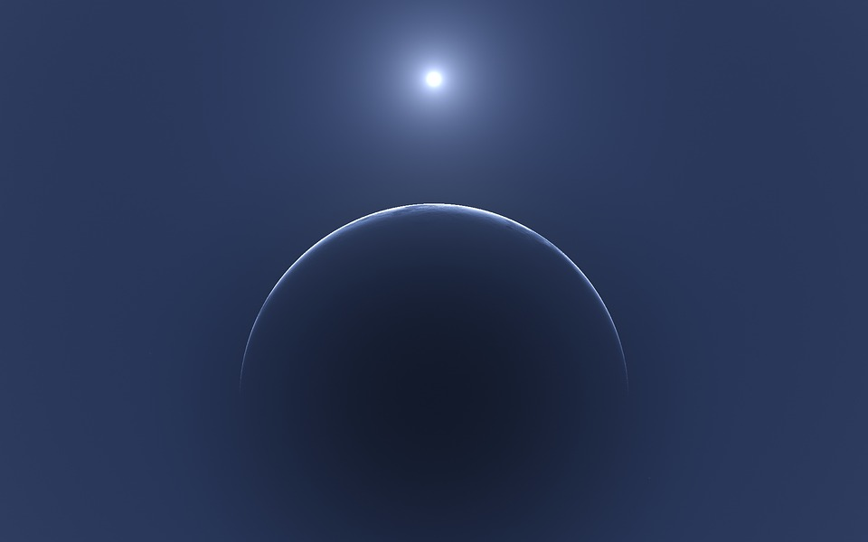Night Sky, Sun, Moon, Blue, Background, Blue Sun