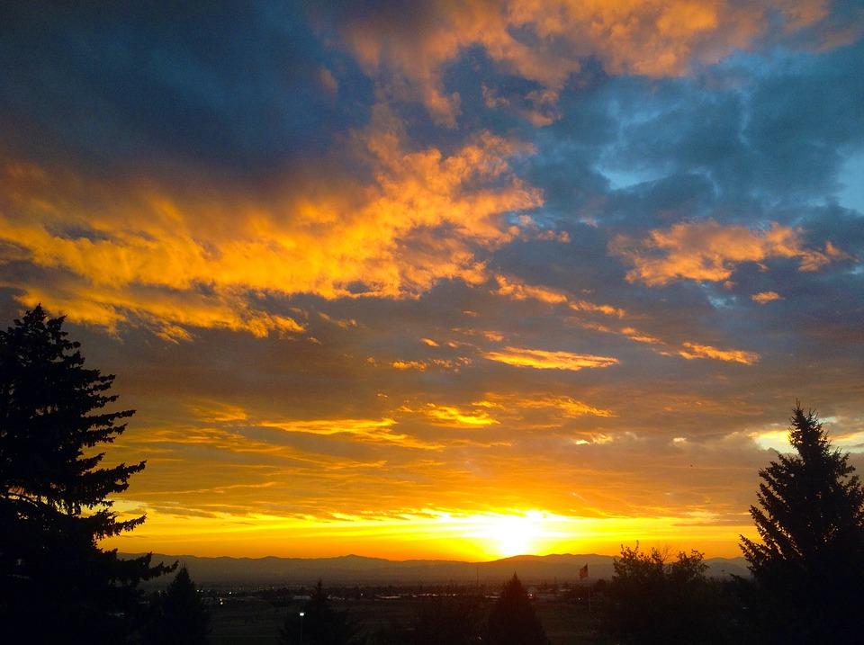 Sunrise Orange Blue Morning Landscape Sky Color