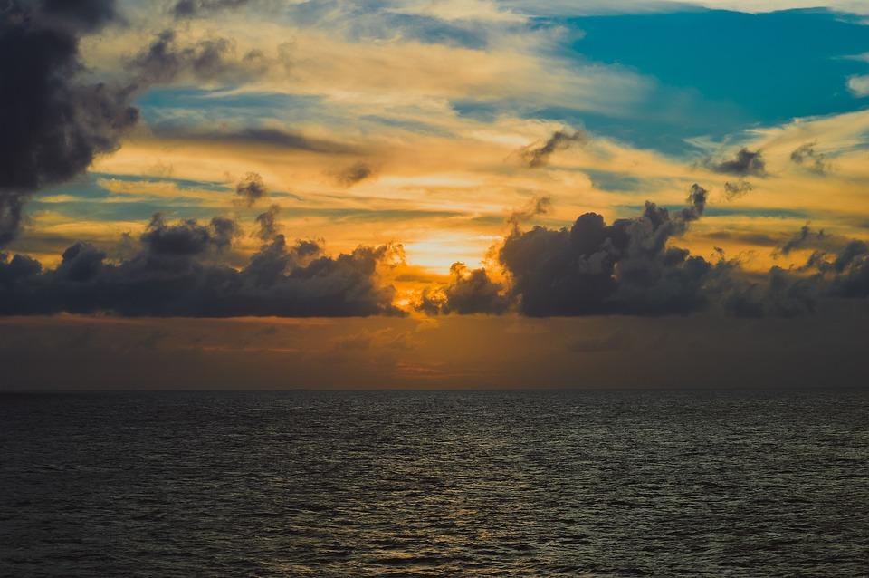 Sunset, Ocean, At Sea, Orange, Blue, Sky, Sea, Evening