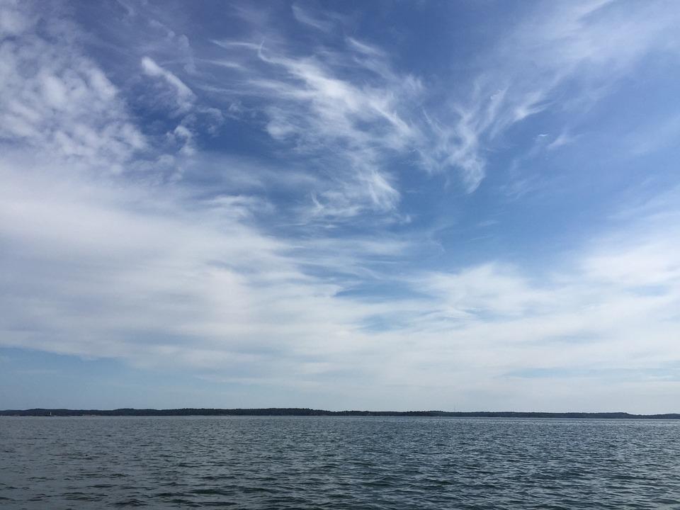Sky, Blue, Clouds, Sea, Sweden, Landscape Format