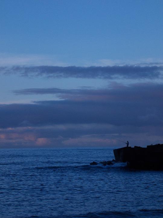 Blue, Sea, Tenerife, Angler, Landscape, Evening